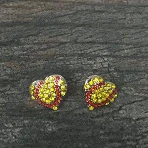 Softball Heart Rhinestone Earrings